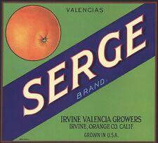*Original* SERGE Irvine Valencia Growers Orange Crate Label NOT A COLOR COPY!!