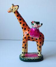 Vintage Mexican Folk Art Pottery CANDELABRA Candle Holder GIRAFFE Birds