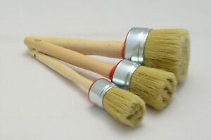 60 40 30 Paint Brush Set 3 Shabby Chic Chalk Paint Pure Bristle Round Brush, Wax