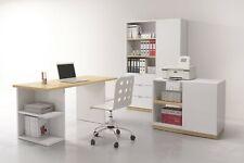 Modern Home Office Study 3 Piece Furniture Set Desk Unit White Gloss Oak Denton