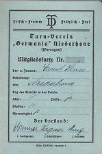 Mitgliedskarte 1929 Turn-Verein Germania Niederhone Werragau Eschwege Ausweis