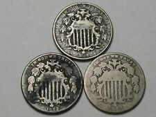 3 5¢ Cent Shield Nickels: 1868, 1882, 1883.  #20