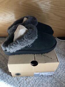 UGG MISSMATCHED Size 6 & 7 Cluggette Slipper BLK Black Gray
