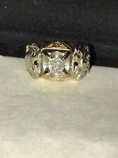 14K Two-Tone White &  Yellow Gold Masonic Diamond Ring. Sz 12