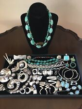 Sterling Silver 925 Jewelry Lot Taxco Mexican Navajo Turquoise 800g Not Scrap