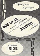 NON LO SO  D. Crosara - RONDINI  D. Monaro # SPARTITO - valzer