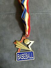 Baseball Championship Bronze/gold tone Medal with ribbon. Die-cast metal