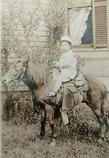 Vintage Child on Horse Photo circa 1900 CUTE