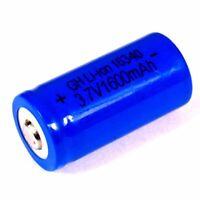2 x DZ 1500 mAh / 3,7 V Lithium - Ionen Akku blau Modell 16340 Li ion 34 x 16 mm