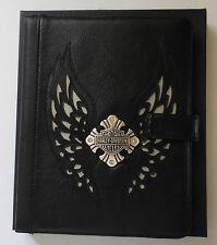 Harley Davidson Women's Silver Wings B&S Cross Medallion iPad Leather Easel New
