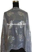 Elegant Lace Floral Pattern Scarf Shawl Wrap w/ Sequin & Crochet Fringe, Gray