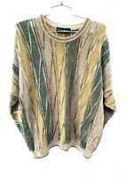 VTG 90s TUNDRA Textured Sweater Mens XL Acrylic  Multi Color Coogi Style Biggie