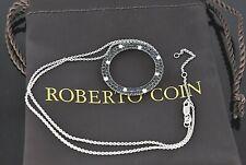 Roberto Coin 18K White Gold Fantasia Dark Blue Sapphire Diamond Pendant Necklace