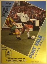 Port Vale v Hull City Programme Division 2 12.09.1989