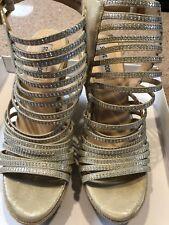 STEVE MADDEN GARRDEN GOLD MULTI WEDGE RHINESTONES Shoes Sandals SIZE 9  $99