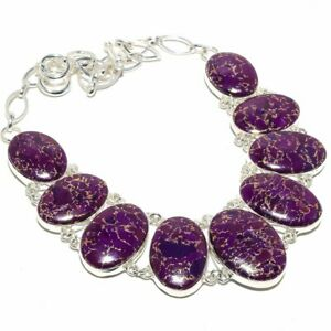 Copper Purple Turquoise Gemstone 925 Sterling Silver Necklace 18""