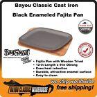 Black Enameled Cast Iron Fajita Pan With Wooden Trivet by Bayou Classic 7780B