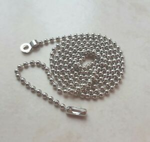 Pull cord chain extension Chrome 2.4mm ball 80-150cm for light pull switch Fan
