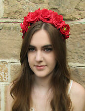 Red Rose Orchid Flower Headband Hair Crown Headpiece Festival Floral Vintage Z83