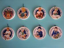 "Antique~Lot of 8~Copenhagen Denmark~3.5"" Miniature Children's Hanging Plates~191"