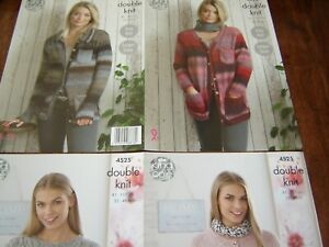 King Cole  DK  KNITTING PATTERNS cardigan/jumpers 2   patterns 4 designs NEW