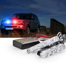2x4Led Blue Red Police Car Offroad Emergency Flashing DC12V Strobe Warning Light