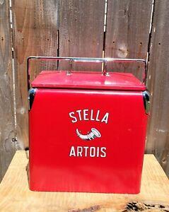 STELLA  ARTOIS RETRO RED/CHROME METAL COOLER ICE BOX