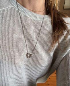 Vtg Vintage Love Heart Rhinestone Heart Charm Delicate Silver Tone Necklace