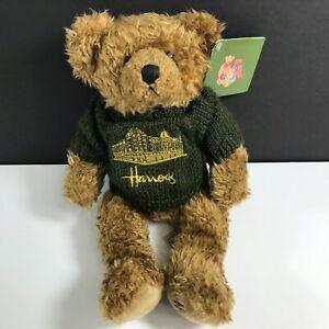 Vintage Harrods 13 Inch Plush Teddy Bear Toy w/Green Harrods Sweater England UK