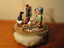 Ron Lee 1990 Clown with Dogs painting a dog Granite Base signed 134/950