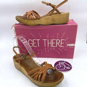 Vintage 1970s Famolare Sandals size 8N Brown Woven Wavy Sole w/ Box Sticker B4