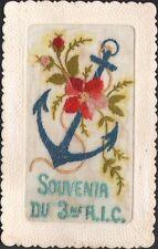 Carte brodée. Souvenir du 3ème Régiment d'infanterie Coloniale. Vers 1920