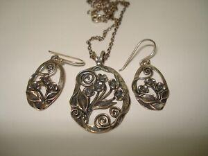 Or Paz Sterling   925  Fancy Flower  Leaf Earrings Necklace Set Made Israel PZ