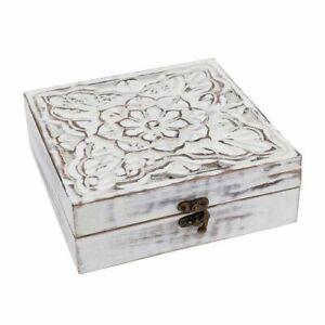 Mango Wood Antique Carving Work Jewellery Box (Size 15x14x14cm) White New