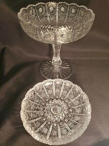 2pc Bohemian Czech VTG Crystal COMPOTE Diamond Bowl Hand Cut Queen Lace 24% Lead