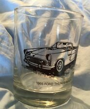 "VINTAGE 1955 FORD THUNDERBIRD CAR GLASS TUMBLER About 4"" Tall"