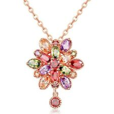 Mona Lisa Natural Peridot Morganite Rose Gold Plated Flower Necklace Pendants
