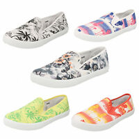 Ladies Slip On Casual Canvas Pumps Colourful Print Designs Summer Shoes F80086