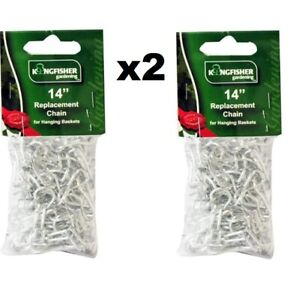 """2 x 14"""" Replacement Garden Flowers Hanging Basket Chains  Strand Replacement"""