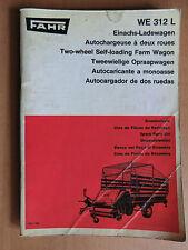 FAHR Ersatzteilliste Einachs-Ladewagen WE 312L 1969 Self-loading Farm Wagon