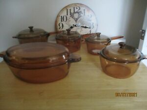 Various Corning Vision Amber Glass Cookware all with Lids