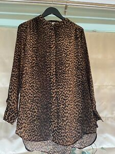 H&M leopard print blouse Grandad Collar Ladies Size 16. Excellent Condition.