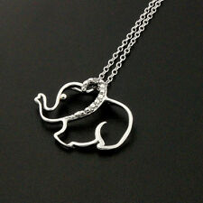 "Sterling Silver 925 single Clear CZ Elephant Necklace with 16""to18"" chain N47"