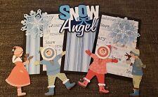 Kids Snow Angels scrapbook page set photo mats and printed die cuts set #654