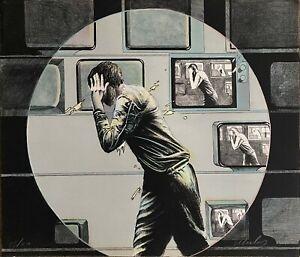 Franco Mulas litografia 1972 'Ripresa diretta' 71x60 firmata numerata Bisonte