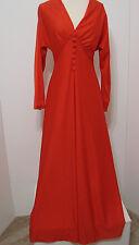 Vintage Great Shape ILGWU Red Jersey Stretch Bias Cut Faux Button Maxi Dress M
