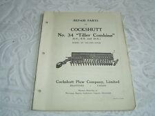 Cockshutt 34 tiller combine model B parts list catalog book manual