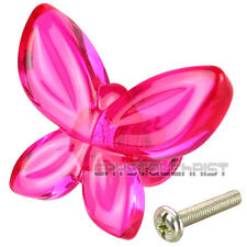 1pc Acrylic Fuchsia Butterfly Design Drawer Knob Pull Door Cabinet Handle