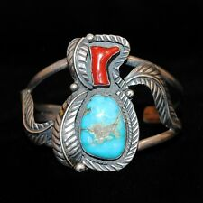 Old Pawn/Estate Navajo Sterling Silver, Red Coral & Turquoise Bracelet