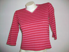 Women's Size Small XHILARATION 3/4 Sleeves Red Striped Knit Top